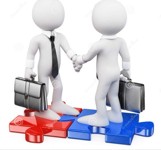 gente del blanco d los hombres de negocios en rompecabezas juntan las piezas de cerrar un trato 55892357